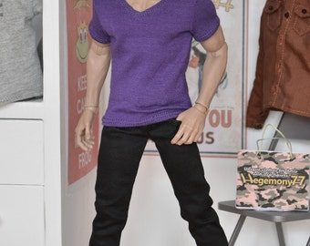 1/6th scale purple V-neck T-shirt for: action figures and male fashion dolls