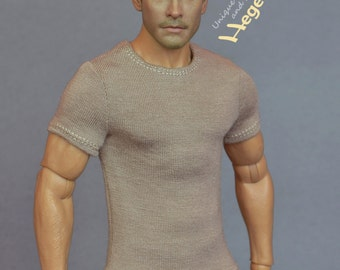 1/6th scale khaki T-shirt for: collectible movable action figures and male fashion dolls