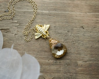 Gold Teardrop Pendant Necklace | Gold Queen Honey Bee | Swarovski Crystal Golden Shadow | Wire Wrapped | Nature Necklace | Insect Necklace