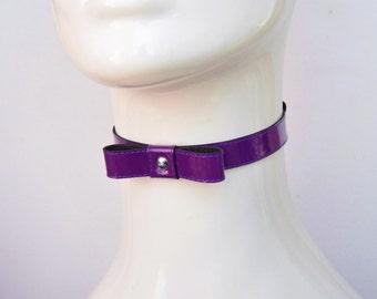 Violet Kitty Kat Purple PVC Bow Tie Choker