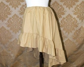 "High Low Mini Cecilia Skirt -- Wheat Cotton -- Ready to Ship -- Fits Up To 38"" Waist"