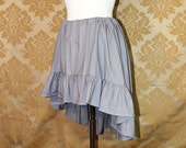 "High Low Mini Cecilia Skirt -- Grey Cotton -- Ready to Ship -- Fits Up To 38"" Waist"