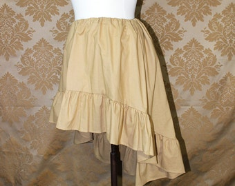 """High Low Mini Cecilia Skirt -- Wheat Cotton -- Ready to Ship -- Fits Up To 38"""" Waist"""