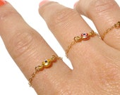 Evil Eye Ring - Gold Evil Eye Charm - Delicate Gold Ring