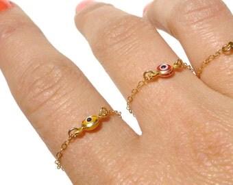 Evil Eye Ring - Gold Evil Eye Charm - Delicate Gold Ring