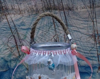 Coral and Turqouise Seashell/Beach/ Wedding Flower Girl  Jr Bridesmaid Basket Style Accessory for Beach, Seaside, Cruise, Summer Wedding.