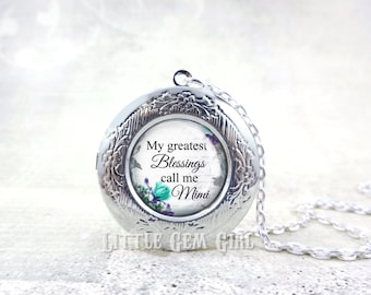 Mimi Locket -  Greatest Blessings call me Mimi Necklace Jewelry - Personalized Photo Locket Silver Bronze or Gunmetal & 17 Designs Available