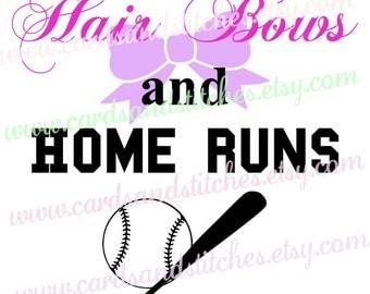 Hair Bows SVG - Home Runs SVG - Baseball SVG - Baby Design - Cricut Cut - Digital Cutting File - Instant Download - Svg, Dxf, Jpg, Eps, Png