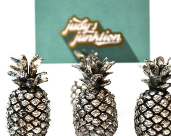 Pineapple Place Card Holders Silver Place Card Holders Table Number Holders Silver Pineapples Wedding Place Card Holders