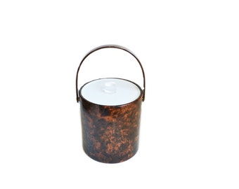 Ice Bucket Brown Ice Bucket Faux Tortoise Shell Ice Bucket Barware Hollywood Regency Ice Bucket Brigade Ice Bucket