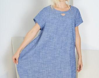Half Moon Dress -- Blue Chambray