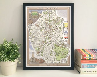 Brixton (London SW2/SW8) illustrated map giclee print