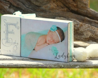 Baby pic and initial name. Great gift for a baptism, birthday. Customize your  block set by Ladybug Design by Eu