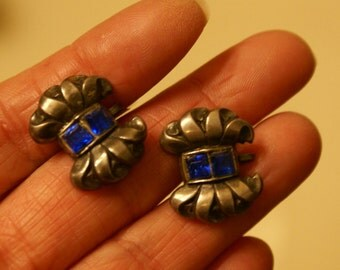 Vintage Sterling Bow Earrings Screw Backs with Blue Stones