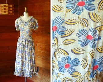 vintage 1930 Art Deco floral print day dress / size small xs