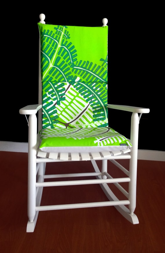 on sale rocking chair cushion green fern ready to ship. Black Bedroom Furniture Sets. Home Design Ideas