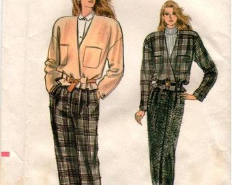 Vintage UNCUT Very Easy Very Vogue Pattern 9979 - Misses/Misses Petite Very Loose-Fitting Jacket, Straight Skirt & Tapered Pants - 6-10