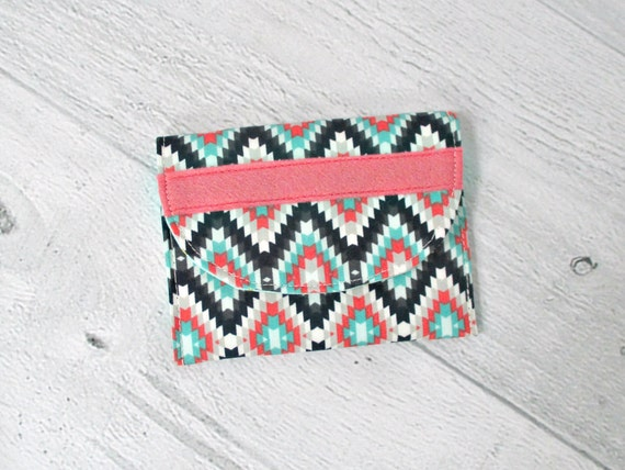 Memory Card Wallet. Card Case. Navy, Mint and Coral Turkish Print Fabric Mini Wallet. Coin Purse.