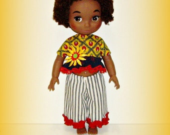 """Handmade Doll Clothes fits 16"""" Disney Animator Doll, """"Primary Perfection"""", Yellow, Red, Blue Multicolor Top, Pants Outfit"""