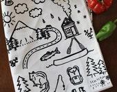 Organic Cotton Kitchen Tea Towel - Mountains - Hand Printed - Spring Summer Fall Winter Cabin