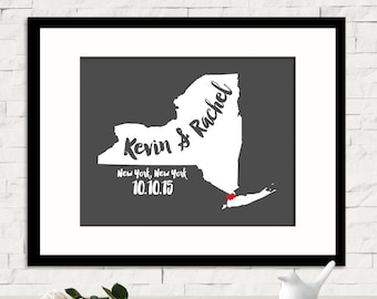 Valentines Day Gift, Wedding 1st Anniversary Gift For Couples Personalized Wedding Gift Custom Name Print New York City Gift Art ANY STATE