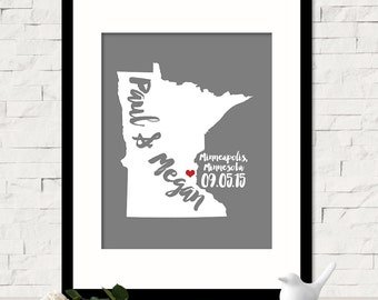 Valentines Day Gift, Wedding 1st Anniversary Gift For Couples Personalized Wedding Gift Custom Name Print Minnesota Gift Art ANY STATE
