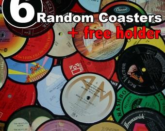 6 Vinyl record coasters AND holder (random set)