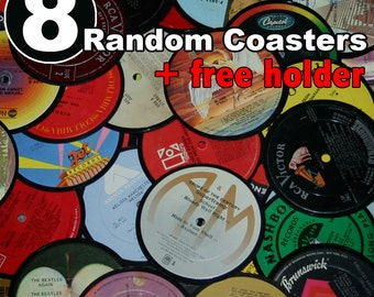 8 Vinyl record coasters AND holder (random set)