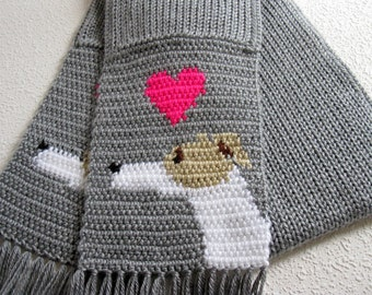 Greyhound scarf. Knit and crochet scarf with greyhound dogs and neon pink hearts.