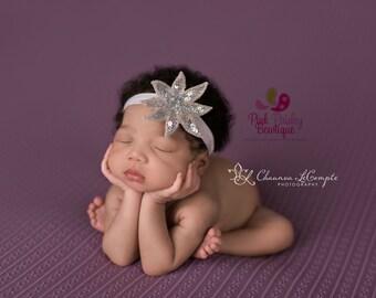 CLEARANCE Baby Headband - Silver Headband - Silver Hairbow - Infant Headband - Sparkle Headband -headband baby -Baby bows - Infant Bows