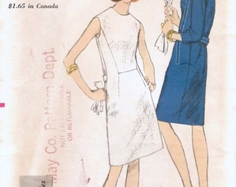 Mod Vintage 1960s Vogue 6757 Young Fashionables Seam Interest A-Line Dress Sewing Pattern B32