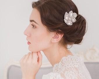 Leaf wedding hair comb, Wedding hair comb, Crystal wedding hair comb, Leaf bridal hair comb