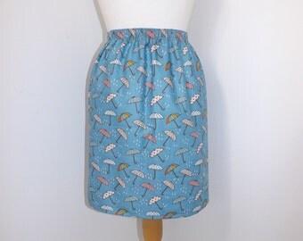 Handmade high waisted skirt made with umbrella rain raining blue fabric