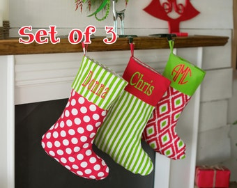 Personalized Family Christmas stockings, set of 3 monogrammed stockings, personalized Christmas stockings