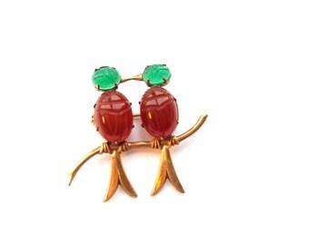 Scarab Love Birds Brooch Carved Carnelian & Green Onyx WRE Gold Filled Vintage Designer Fashion Jewelry