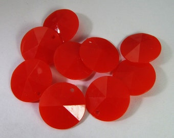 30 Vintage 15mm Faceted Red-Orange Charms Drops Pendants Pd779