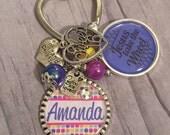 PERSONALIZED Key Chain / Sweet Sixteen Birthday / Jesus take the Wheel / Guardian Angel / Granddaughter Gift / Daughter Birthday / Teal / 16