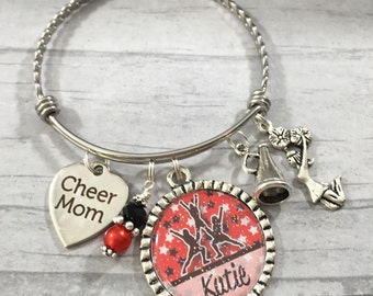Cheer Mom PERSONALIZED Twisted Bangle, Cheerleader Jewelry, Team Colors, Cheer Competition, Cheer Coach, Cheer Coach
