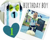 1st Birthday Outfit Baby Boy Onesie  Blues and Greens Bow Tie Onesie All In One One Piece Bodysuit