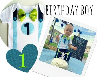 1st Birthday Outfit Baby Boy Bodysuit  Blues and Greens Bow Tie  All In One One Piece Bodysuit