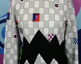 Halloween Geometric 70s Dress with Weird Checkerboard Jagged Cut Print 1970s Dress