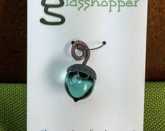 Lampwork Glass Acorn - Grey