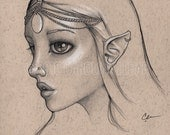 Elven princess drawing, big eyes, original ink drawing, art