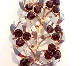 Vintage Brown topaz Rhinestone 1950s brooch pin gold toned vintage jewelry Leaf Design