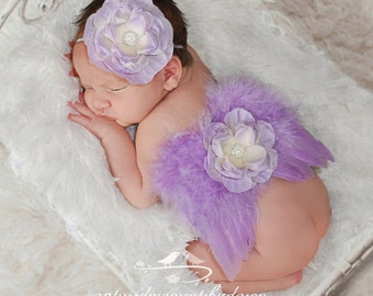 Lilac Angel Feather Baby Wings with Stretch Lace Elastic Headband, for newborns, photo shoots, photographers, baby photo, baby girls