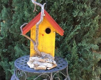 Rustic Wood Birdhouse Functional Unique with Natural Driftwood, Bird House Garden Art Decor, Handmade Birdhouses For Sale, Item 449761480