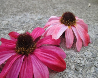 Pink black-eyed Susan hair flower clip, rudbeckia hair flower