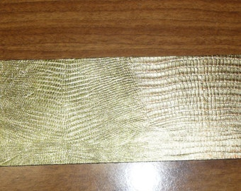 """Leather CLOSEOUT #597 3""""x11"""" Greenish Metallic Gold LIZARD with Darker Gold Highlights Embossed Cowhide 2.5 oz / 1mm PeggySueAlso"""