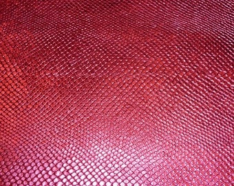 "Leather 6 Pieces 4""x6"" HOT Pink Metallic AMAZON COBRA Embossed Cowhide 2.5 oz / 1mm PeggySueAlso"