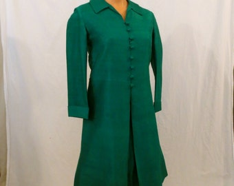 EMERALD CITY green silk coat dress - mid mod glam - sz XS S